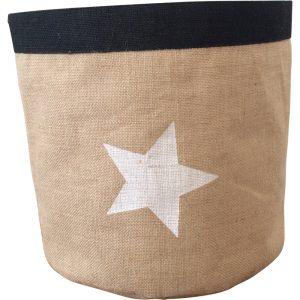 Korb aus Jute mit Stern (Natur/Schwarz/Weiß)