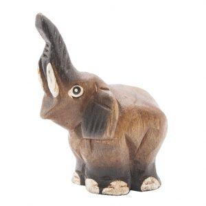 Statue Elefanten Rüssel Hoch Akazienholz (6,5 cm)