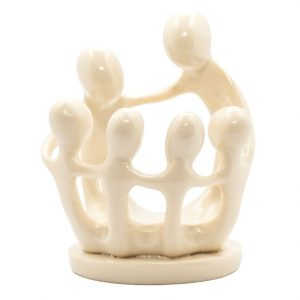 Statue Polystone Familie mit 6 Personen Weiss (9 cm)