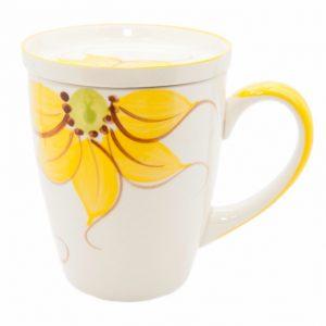 Teebecher aus Keramik Sonnenblumen Gelb mit Teeschale
