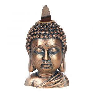 Rückfluss Weihrauchbrenner Bronzefarbener Buddha-Kopf