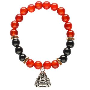 Edelstein-Armband Karneol/Onyx mit Happy-Buddha-Charme (elastisch)