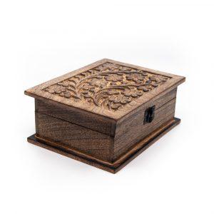 Aufbewahrungsbox Blume aus nachhaltigem Holz Handgemacht Groß