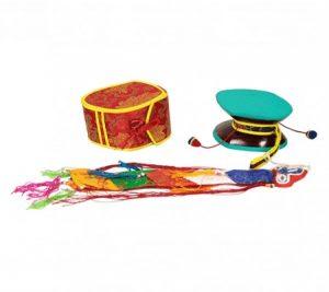 Die mystische Trommel (Damaru) + roter Tasche