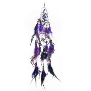 Traumfänger Perlenspirale Violett - 45 cm
