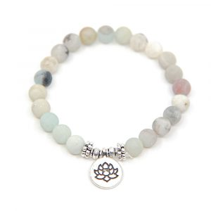 Edelstein Armband Amazonit mit Lotus elastisch