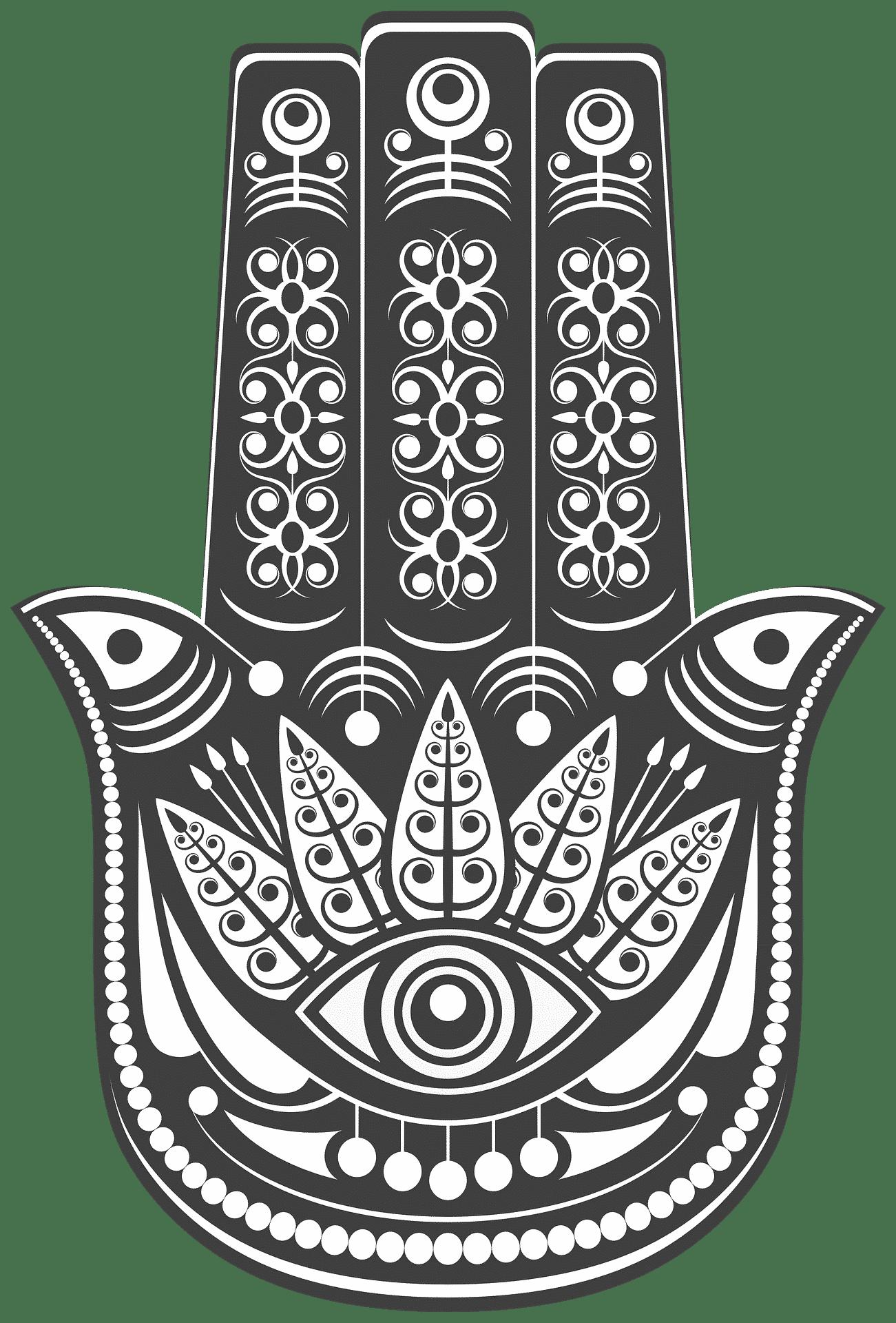 Hamsa Hand Hand der Fatima Illustration schwarz weiß