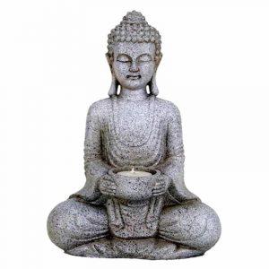Meditationsbuddha mit Kerzenhalter (Steingrau - 27 cm)