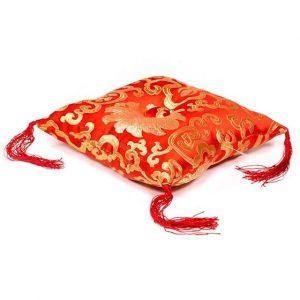 Kissen für Klangschale rot mit Blumenmotiv (12 cm)