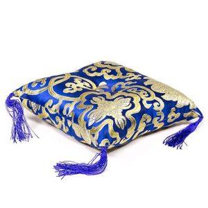Kissen für Klangschale blau mit Blumenmotiv (14 cm)