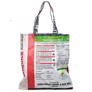 Einkaufstasche aus wiederverwerteten Reissäcken Assorti (39 x 38 cm)
