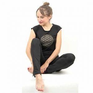 Yoga-T-Shirt 'Blume des Lebens' Zwart S