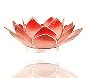 Teelichthalter - Lotusblume (atmosphärisches Licht, rot-rosafarbend, goldener Rand)