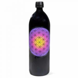 Trinkflasche violettes Glas 'Miron' - mit violetter Blume des Lebens Dekoration