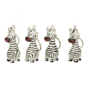 Schlüsselanhänger aus Holz Zebra (4er Set)