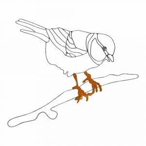 Wanddekoration aus Metall Vogel auf Ast (30 x 0.5 x 23 cm)