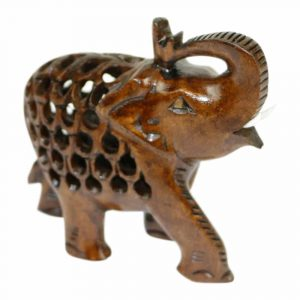 Statue aus Holz Elefanten Gruß Natur (10 x 8 x 3 cm)