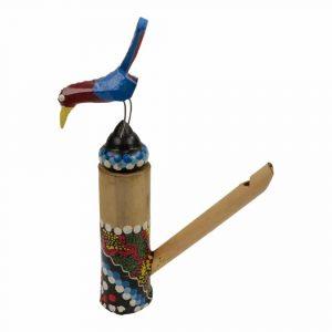Flöte mit Vogel Gelb-Braun