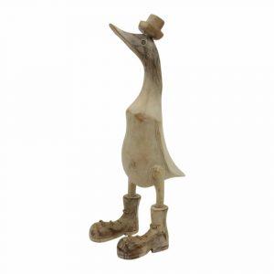 Statue aus Holz Ente Whitewash mit Hut (36 x 16 x 10 cm)