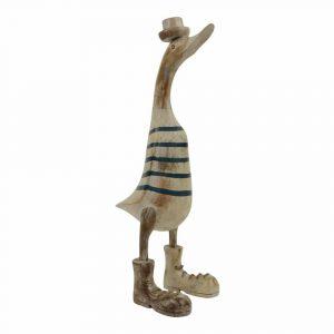 Statue aus Holz Ente gestreift mit weißem Hut (44 x 24 x 14 cm)