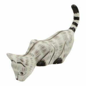 Statue aus Holz Katze schaut nach unten (15 x 13 x 4 cm)