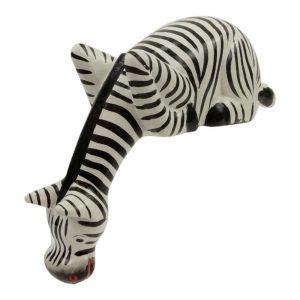 Statue aus Holz Zebra blickt nach unten (23 x 20 x 7 cm)