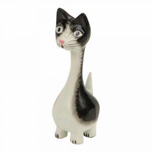 Statue aus Holz Katze mit langem Hals (10 x 4 x 3 cm)