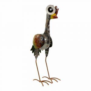 Vogel aus Metall Große Augen Grau (49 x 18 x 18 cm)