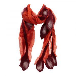 Schal aus Merino-Filz Blätter - Rot