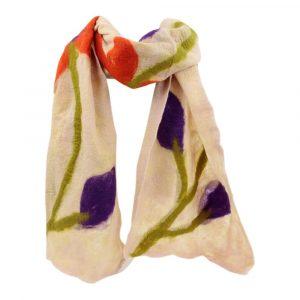 Schal aus Merino-Filz Blumen - Rosa