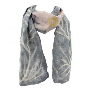 Schal aus Merino-Filz Blumen - Grau