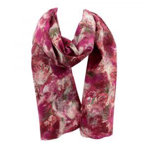 Schal aus Merino-Filz Baumwolldruck - Fuchsia