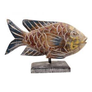 Statue aus Holz Fisch auf Standard (34 x 21 cm)