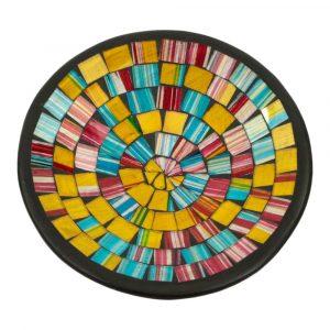 Schale Mosaik Regenbogenfarbig (21 x 21 x 5 cm)