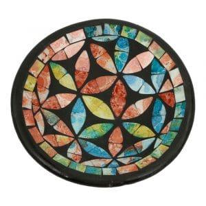 Runde dekorative Schale Mosaik Blumen Mehrfarbig (16 x 4 cm)