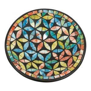 Runde dekorative Schale Mosaik Blumen Mehrfarbig (24 x 6 cm)