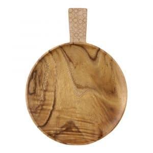 Runde Snack-Schale aus Holz mit Bambus (37 x 27 cm)
