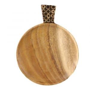 Runde Snack-Schale aus Holz mit Bambus (23 x 17 cm)