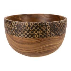 Schale aus Holz mit Bambusdekoration (23 x 13,5 cm)
