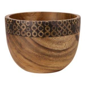 Schale aus Holz mit Bambusdekoration (15 x 11 cm)