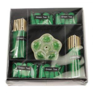 Geschenkpackung Raucherstäbchen Grüner Tee mit Brenner Blume (Grün)