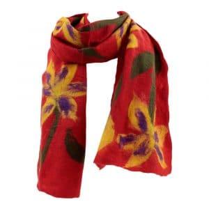 Schal aus Filz Rot mit Blumen