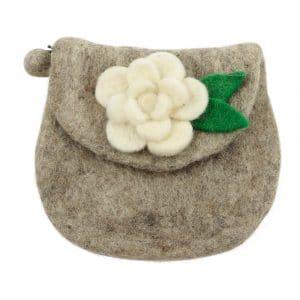 Portemonnaie aus Filz mit weißer Blume