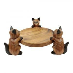 Runde Schale aus Holz - Drei Katzen