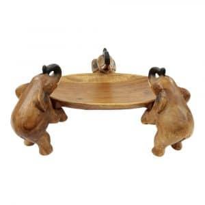Runde Schale aus Holz - Drei Elefanten