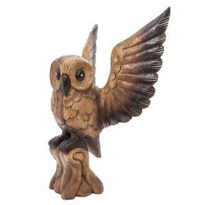 Statue Eule aus Holz mit offenen Flügeln (40 x 38 x 25 cm)