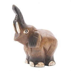 Statue Elefanten Rüssel Hoch Akazienholz (5 cm)