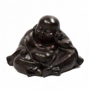 Happy Buddha Statue Polystone Schwarz - 13 x 10 x 9 cm