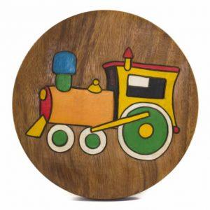 Hocker für Kinder Zug - Akazienholz (27 x 27 x 25 cm)