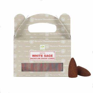 Satya Backflow-Räucherkegel Weißer Salbei (24 Kegel)